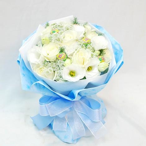 白色情人節 網路送花冠軍 戀戀白玫瑰繡球花束 白色情人節幾號 白色情人節 網路送花