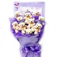 玩偶花束 紫愛你毛衣熊熊花束