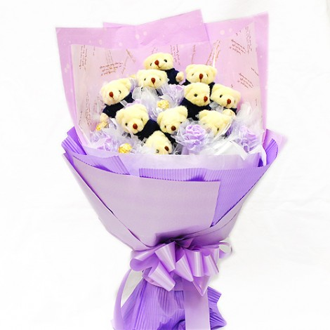 可愛泰迪熊金莎巧克力 玫瑰香皂花束 花束 金莎巧克力 泰迪熊 玩偶 玫瑰 手作香皂