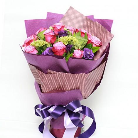 花店經典 珍愛紫玫瑰桔梗花束 訂花首選