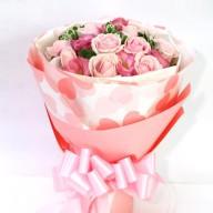 線上訂花冠軍 經典粉玫瑰桔梗花束 花店外送