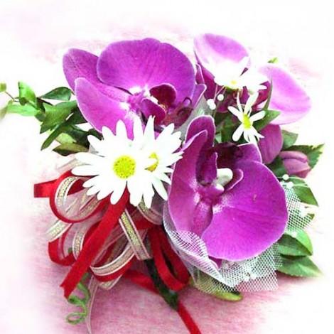 胸花-多朵蝴蝶蘭 胸花 手工胸花 蕾絲胸花 緞帶 鮮花 記者會 婚禮胸花 胸花材料