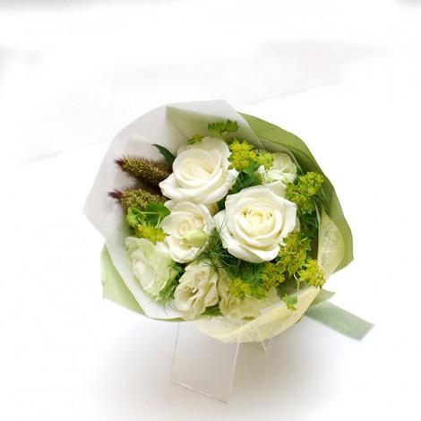 伴娘捧花-白玫瑰+白桔梗 婚禮 新娘捧花 婚禮會場 婚紗公司