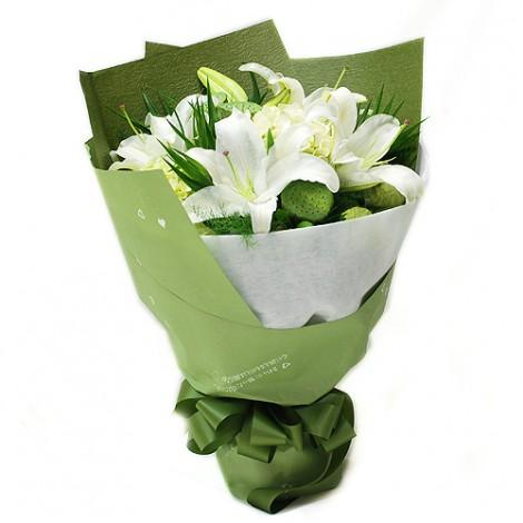 心願送花首選  綠精靈香水百合花束 花束 百合 香水百合