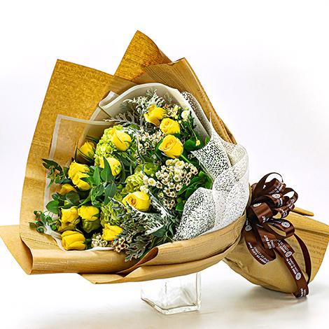 不愛也難  黃玫瑰花束 歡迎線上訂花 花束 情人節禮品 情人節禮物 情人禮物 玫瑰