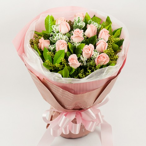 女生情人節禮物推薦 燦爛粉紅玫瑰花束 網路花店 台北花店 花店送花 女生情人節禮物推薦