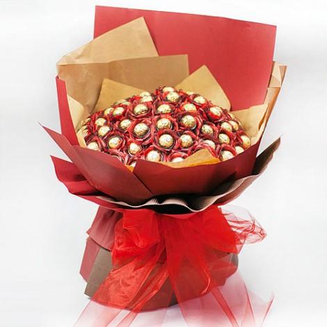 情人節專屬 真愛永恆66顆金莎巧克力花束 金莎巧克力花束 巧克力花束 情人節禮物
