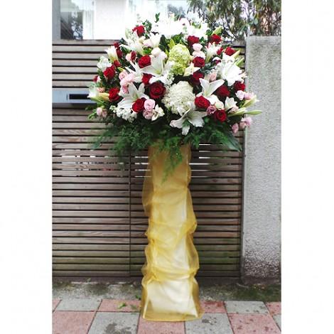 鴻運昌隆 西式藝術高架花籃(一座)