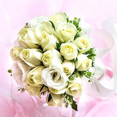 充滿愛與祝福的新娘白玫瑰捧花 浪漫推薦 婚禮進場花束 婚禮用品 新娘捧花胸花 抽捧花