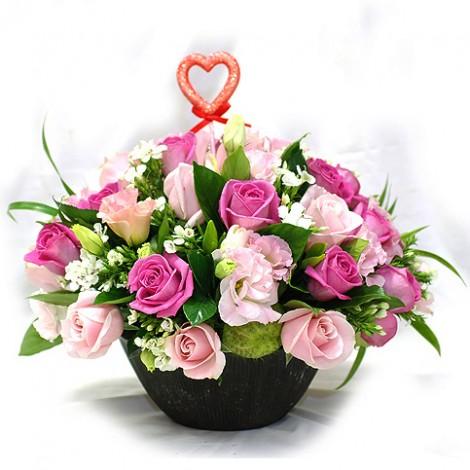 幸福時光 繽紛玫瑰盆花