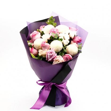 情人節強打 紫愛伊人紫玫瑰花束 網路花店推薦 情人禮物 西洋情人節花束