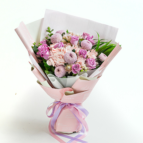 超人氣情人花禮  浪漫滿屋紫玫瑰粉繡球花束 網路花店 台北市花店 情人花禮 玫瑰花束