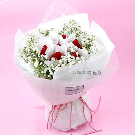 草莓滿天星花束 手工香皂 讓您招桃花