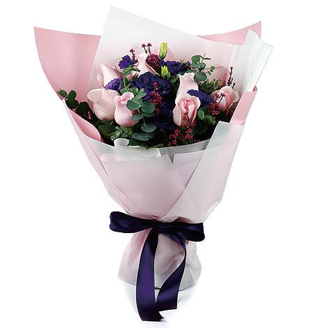 畢業花束 粉紫玫瑰桔梗花束 送老師禮物 桔梗花 送老師禮物 畢業花束
