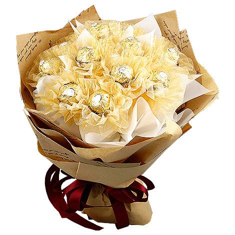 全省送花 情人節送禮經典金莎花束 金沙巧克力花束 金沙巧克力 情人節送禮 全省送花