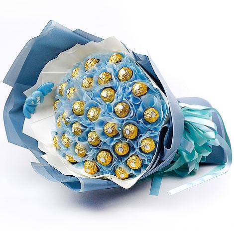 花店送花 藍天金莎巧克力花束 全省配送 金莎花束 金莎巧克力花束 金莎巧克力 花店送花