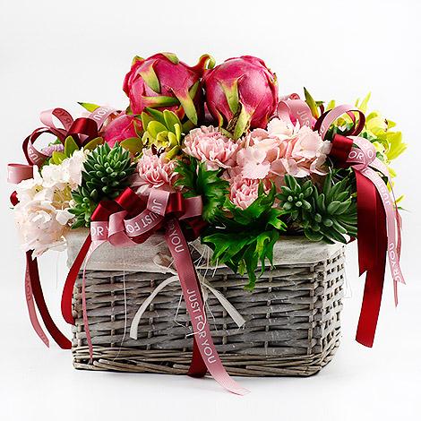 中秋節禮物送什麼 健康水果花禮藍 網路訂花方便 水果禮籃 網路訂花 水果花禮  中秋節禮物  中秋節送什麼