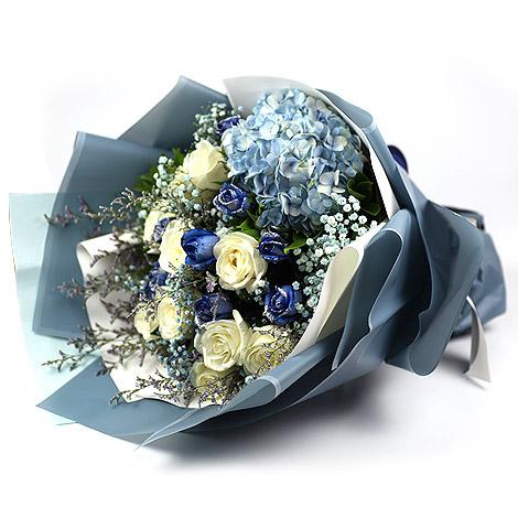 繡球花花束 閃亮藍玫瑰花束 網路花店 花束 網路花店 玫瑰花 藍玫瑰 繡球花花束
