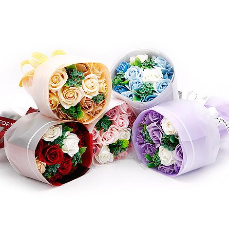 情人禮物 11朵手捧玫瑰香皂花束 附提袋 玫瑰花香皂花束 特別禮物
