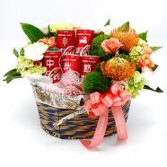 中秋節送禮 可口可樂客製花禮籃
