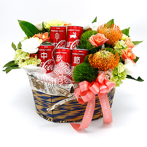 中秋節送禮 可口可樂客製花禮籃 中秋節送禮
