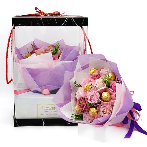 金莎巧克力花束 愛情真意玫瑰香皂花束 玫瑰香皂花束 金莎巧克力 金莎花束