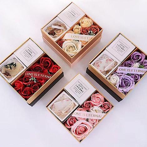 母親節創意禮物 玫瑰花香氛片花禮盒 創意禮物 玫瑰香皂花