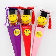 畢業送什麼好 畢業微笑娃娃三角花盒 5入