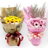 迎向陽光 向日葵香皂花束 黃&粉