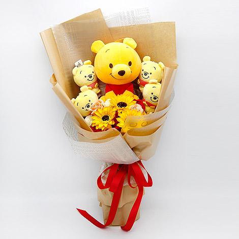 花店熱賣 維尼熊向日葵玩偶花束 玩偶花束 熊熊花束 娃娃花束