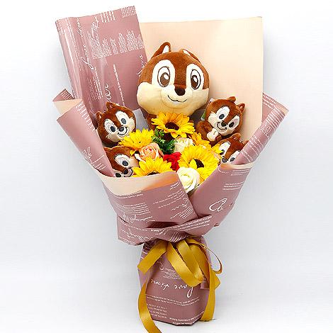 絨毛玩偶 奇奇蒂蒂向日葵花束 玩偶 絨毛玩偶 迪士尼玩偶 玩偶花束 花店送花