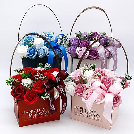 推薦特別禮物 香皂花情人節花盒 花籃 香皂花 特別禮物