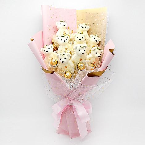 花店送花 小熊金莎巧克力花束 閃亮 金莎巧克力花束 小熊 花店送花