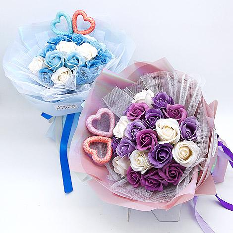 網路花店 同心香皂玫瑰花束22朵 玫瑰花香皂花束 網路花店