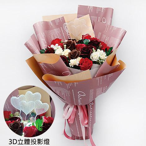 3D立體投影燈玫瑰香皂花束 驚喜送花閃亮亮