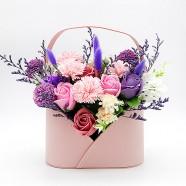 母親節禮物排行 康乃馨香皂花盆花 高質感皮質花器
