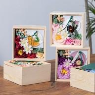 母親節禮物 香氛蠟片玫瑰香皂花禮木盒