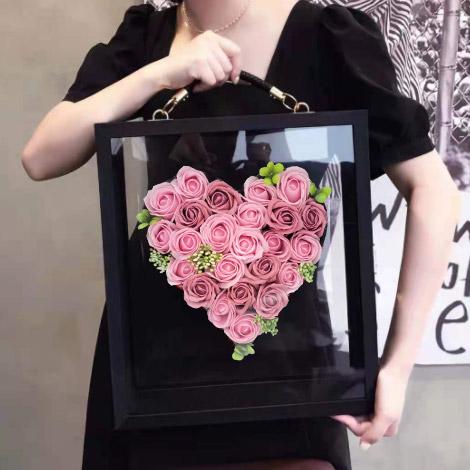 情人節禮物 玫瑰香皂花方形大花盒